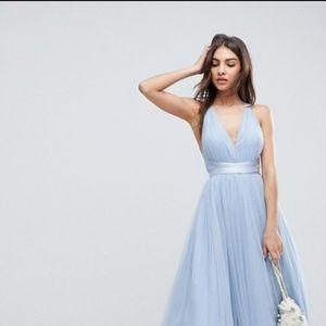 ASOS Premium Tulle Maxi Prom Dress with Ribbon Tie